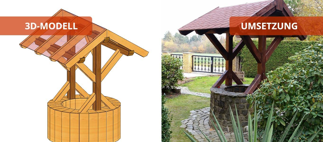 Brunnendach holzbaus tze individuell und zum selber aufbauen for Fachwerkhaus skizze